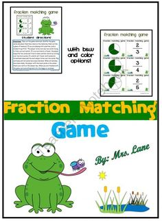 Fraction Matching Game from Mrs Lane on TeachersNotebook.com -  (15 pages)  - Do your elementary students need to practice fractions? They will absolutely love playing this fun matching game while practicing their fraction skills. It makes a great center, workstation, whole cla
