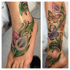 Cala Lily and Butterflies done by Les Collier at SearchLight Tattoo in Warner Robins, Ga.