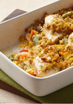 Stuffing-Crusted Creamy Chicken Casserole – This casserole only takes 15 minutes to put together—but it yields a creamy chicken and corn mixture beneath a savory stuffing crust. Well done, Mom!