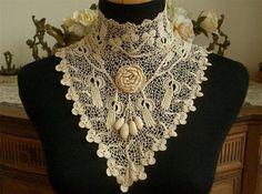 Superb Handmade Antique Vtg Edwardian Silk Irish Crochet Lace Wedding Collar | eBay
