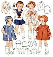 Vintage Doll Clothes Pattern 1919 ~ size 19