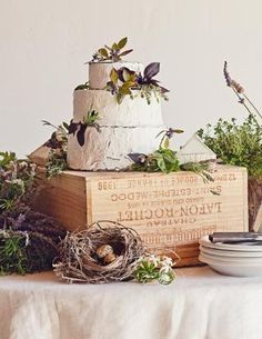 Wine Crate Wedding Cake Stand. Love this for maybe a rustic wedding, but the cake is to short!