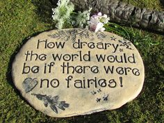 Fairy garden sign - Fairies garden decoation with lovely details  - Believe in fairies Garden decor. $50.00, via Etsy.
