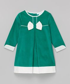 Loving this Green & White Bow Dress - Infant, Toddler & Girls on #zulily! #zulilyfinds