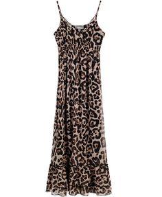 Leopard Chiffon Maxi Dress with Slim Straps