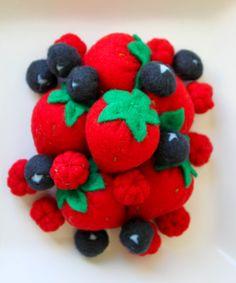Felt Food - Berries Play Food (Strawberries, raspberries, blueberries). $25.00, via Etsy.