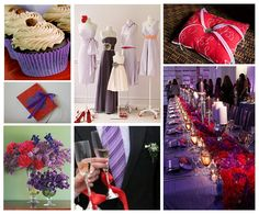 I like the idea of the dark wedding dress..and the light purple bridesmaids..table is pretty awesome too.