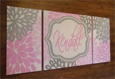 large nursery art- personalized triptych painting- name monogram initials- M2M decor- pink grey flowers