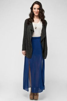 Pleated Maxi Skirt in Blue casual fashion, pleat maxi, skirt 31, lush pleat, maxis, skirt 24, 31 wwwtobicom, blues, maxi skirts