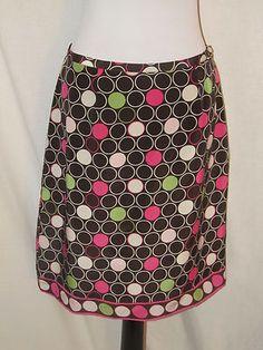 Sz 10 Silkland Silk Skirt Brown White Pink Green White Circle Skirt Border Lined