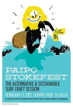 paipo stokefest poster via the http://www.thepaiposociety.com