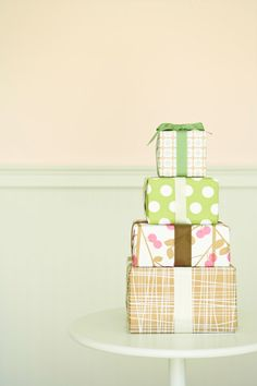 Wrap presents: Choose a festively patterned wallpaper to cover gift boxes; it's heavier and more durable than standard wrapping.