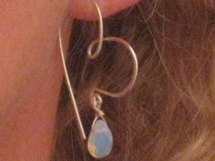 freeform sterling silversmithed heart earwires withe dangling opalite briolettes--  http://www.rubylane.com/item/802047-opaheaear/Silversmithed-Freeform-Sterling-Silver-Heart