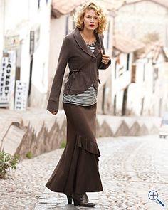 long ruffled knit skirt
