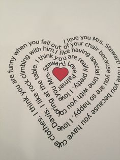 Ask your child what they love about their teacher (or dad for Father's Day) and a website will automatically turn it into a heart shaped poem. Plus 15 other Ideas for Teacher Appreciation gifts