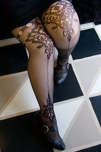 Micro Net Tights with Chandelier & Keyhole Designs