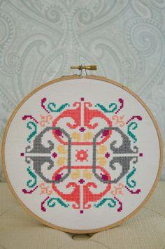 Cross Stitch Pattern PDF, Motif Style 4 on Etsy.  Adorable pattern -- love the colors too.  #cross_stich #pattern #mod_motif