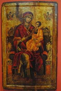 Beautiful | Royal icon: #Virgin and Child Enthroned Wallachia, beginning of 18th century. Tempera on wood. #icons #art #sacredart #Christ