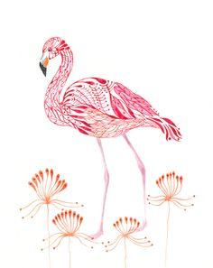 Pink Flamingo bird art print, via Etsy.