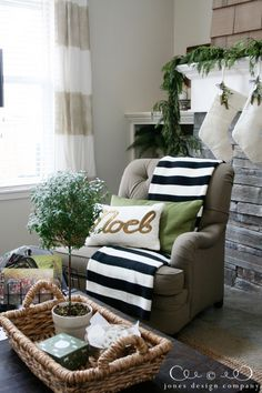 christmas house tour: striped curtains, striped throw, noel pillow