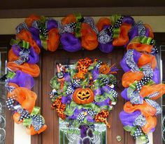 Deco Mesh HALLOWEEN GARLAND with ZEBRA Ribbon and by decoglitz