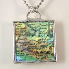 Guatemala Map Pendant Necklace by XOHandworks $20