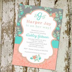 baby girl shower invitations, shabby chic mint green coral turquoise, digital, printable file (item 1335) on Etsy, $13.00