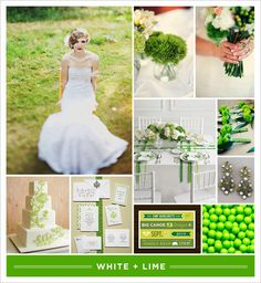 Lime green and white
