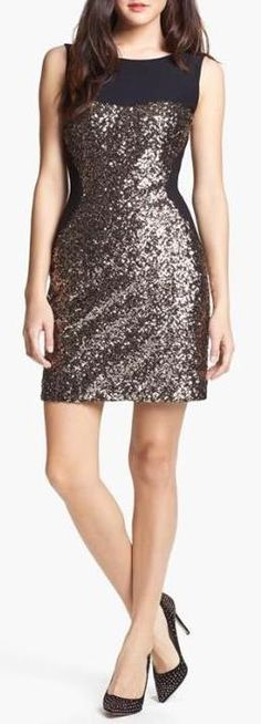 Sparkle in a sequin sheath dress