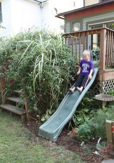 A slide off the deck, awww yeeah.  It can go from the top of the steps to behind the lilac bush!