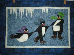 Skating penguins quilt