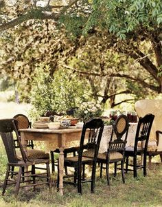 dining rooms, table settings, farm tables, dinner parties, garden parties, outdoor tables, backyard, old chairs, old china