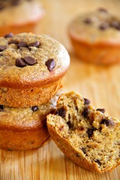 Flourless Chocolate Chip Almond Butter Muffins -- gluten-free, sugar-free, dairy-free, and oil-free.