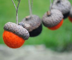 Limited Edition! Just in time for Halloween! I have limited supplies and will only be making a small number of these. Get them now before they are all spooked out!    Set of 6 Wool Felted Acorn Hanging Ornaments in Black & Orange!    Felted wool fills the natural tops from real acorns and I use hemp twine made from recycled materials for them to hang!  So fun and whimsical!