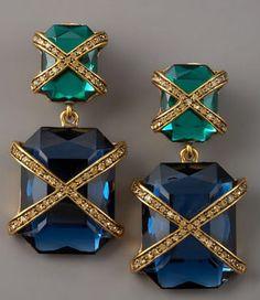 Oscar de la Renta Cross Stone Clip-On Earrings