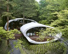 This is a remarkable house built in the woods of Karuizawa, Japan and designed by Kotaro Ide.