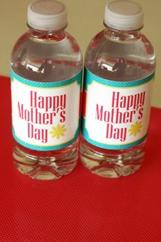 Free Mother's Day water bottle labels
