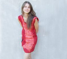 Red felted dress party wool dress fall autumn fashion by Baymut