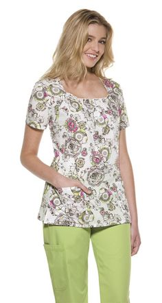 This pretty floral pattern adds a touch of cheer to your scrubs! #fashion #scrubs