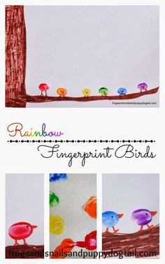 rainbow prints, kid activities, rainbow fingerprint, puppy crafts, fingerprint birds