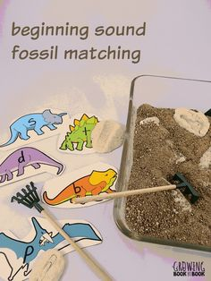 A fun fossil dig and alphabet sorting dinosaur activity from growingbookbybook.com #playfulpreschool