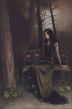 gothic, digit art, amber, digital art, dark, thought, fantasi art, linda bergkvist, artist