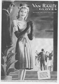 Van Raalte 'Gay Twenties' Gloves (1943). #vintage #1940s #WW2 #Navy #gloves #ads
