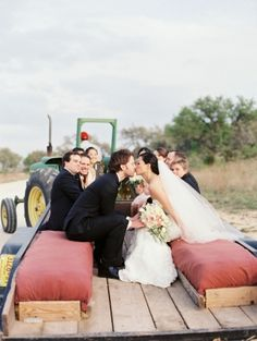 Bridal Party in Tractor Pull | photography by http://michelleboydphotography.com