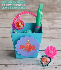 The Little Mermaid Ariel Birthday Party Favors Printable Box Craft