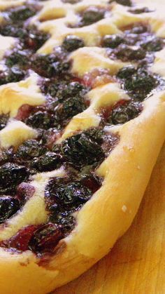 SWEET BLUEBERRY FLAT BREAD!!!!  Focaccia as an Antipasto - Focaccia Tutti I Giorni... I made one ball of Focaccia bread dough but I made three different Focaccias... Sea Salt and Herb, Caramelized Onion AND SWEET BLUEBERRY (the star of the evening).