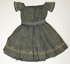Child's cotton gingham dress, American, late 1840s-early 1850s.