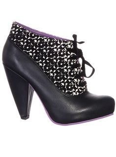 Velveteen Vamp Lace-up Booties at PLASTICLAND