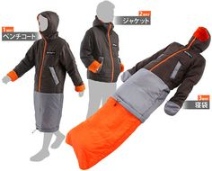 Colorful, Wearable Sleeping Bags That Transform Into Clothing Items  The colorful S1-80 and S1-81 wearable sleeping bags from Doppelganger Outdoor can be transformed into relatively normal clothing by removing the hood and unzipping the handwarmers and bottom section.