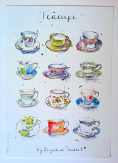 Teacup Art Print from Original Ink and Watercolour Illustration.